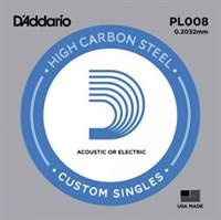 Отдельная 1-ая струна для акустической гитары, 008, D`Addario PL008 PLAIN STEEL