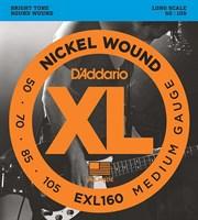 Струны для бас-гитары Long Medium 50-105 D`Addario EXL160 XL NICKEL WOUND