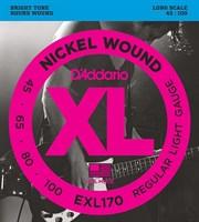Струны для бас-гитары Long Regular Light 45-100 D`Addario EXL170 XL NICKEL WOUND
