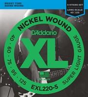 Струны для 5-струнной бас-гитары, Super Light, 40-125, D'Addario EXL220-5 Nickel Wound