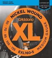 Струны для 5-струнной бас-гитары 5-string Long Medium 50-135 D`Addario EXL160-5 XL NICKEL WOUND