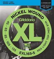 Струны для 5-струнной бас-гитары 5-string Long RLTMB 45-135 D`Addario EXL165-5 XL NICKEL WOUND
