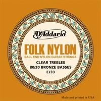 Струны для акустической гитары D'Addario Folk Nylon EJ33
